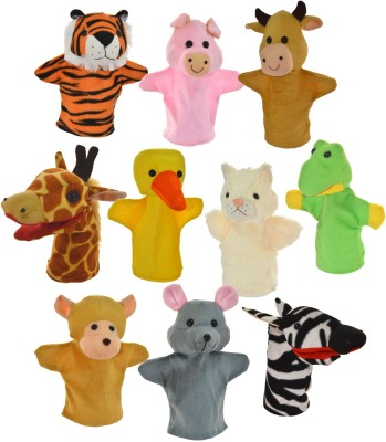 Cuddly Toys Animal Hand Puppets Set of 10 Hand Puppets