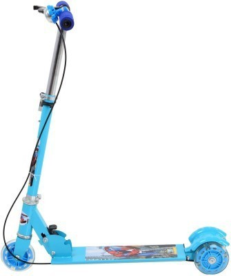 Toybee Blue Metal Three Wheel Scooter With Brake, Bell & Led Tricycle