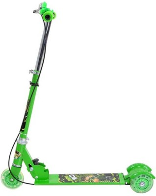 Toybee Green Metal Three Wheel Scooter With Brake, Bell & Led Tricycle