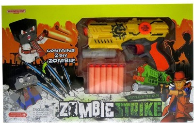 Toys Bhoomi Rapid Fire Soft Bullet Gun With 2 Zombie Targets(Yellow)