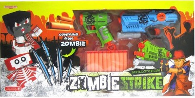 Toys Bhoomi Rapid Fire Soft Bullet Gun With 4 Zombie Targets