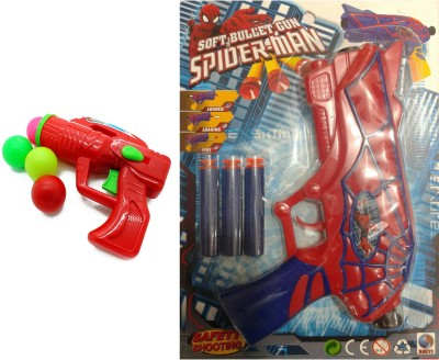 FINNEXE Gun Toy combo Ping pong gun and Soft Bullet Spiderman Gun(pack of 2)