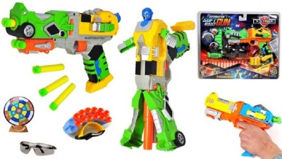 ToysBuggy Transformers Gun To Robot With Target Darts Holder Eyeglass