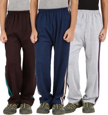 Meril Printed Girl's Brown, Grey, Dark Blue Track Pants