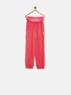 Reebok Solid Girl's Red Track Pants