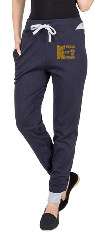 Campus Sutra Printed Women's Blue Track Pants