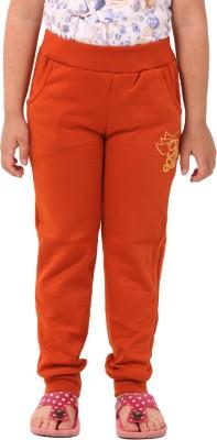 Pretty Angel Printed Girl's Orange Track Pants