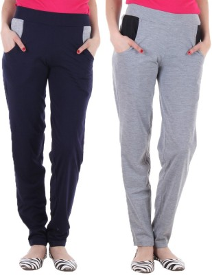 Coaster Solid Women's Dark Blue, Grey Track Pants