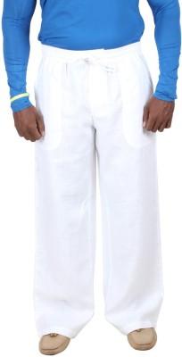Liash Solid Men's Linen White Track Pants