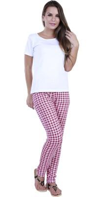 Eshelle Checkered Women's Pink, White Track Pants