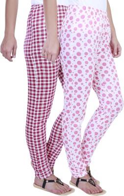 Eshelle Checkered, Polka Print Women's Pink, White Track Pants