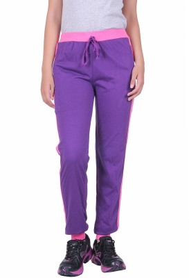 DFH Solid Women's Purple Track Pants at flipkart