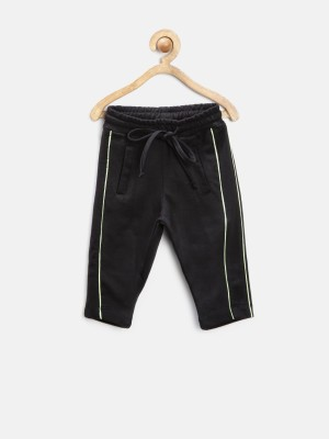 Yellow Kite Solid Baby Boy's Black Track Pants