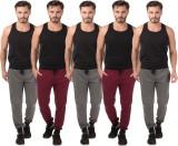 Meebaw Self Design Men's Grey, Grey, Gre...