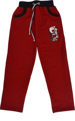 Crux&Hunter Solid Boy's Red Track Pants