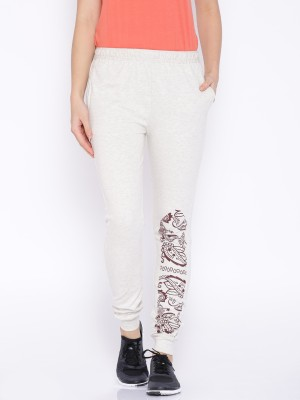 Le Bison Printed Women's White Track Pants