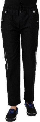 Grand Bear Regular Fit Solid Men's Black Track Pants