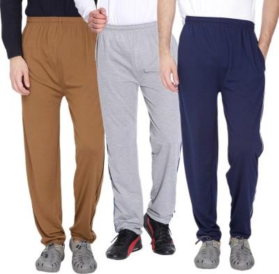 Fizzaro Solid Men's Brown, Grey, Blue Track Pants