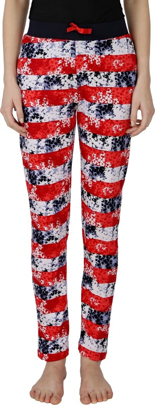 Red Ring Printed Women's Multicolor Track Pants