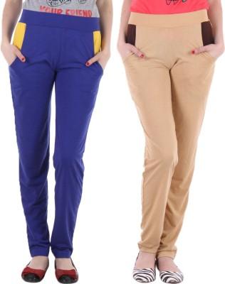 Coaster Solid Women's Blue, Beige Track Pants