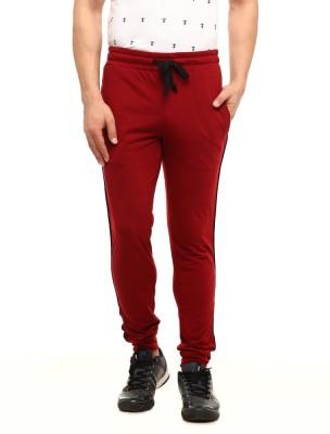 Gritstones Solid Men's Maroon Track Pants