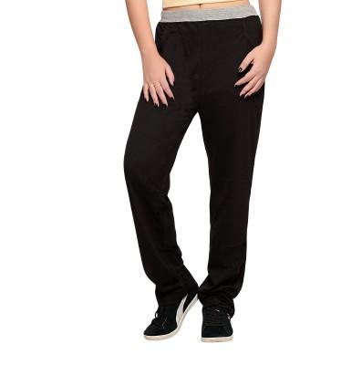 Towngirl Black Solid Women's Black Track Pants