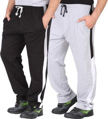 CHECKERSBAY Solid Men's Black, Grey Track Pants