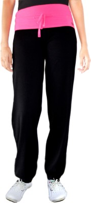Ativo Solid Girl's Black, Pink Track Pants
