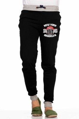 Demokrazy Printed Men's Black Track Pants
