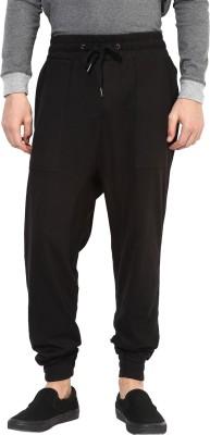 Hypernation Solid Men's Black Track Pants