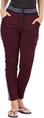 Hbhwear Pro Solid, Striped Women's Maroon Track Pants