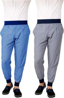 Lemon & Vodka Jogger Checkered Men's Blue Track Pants