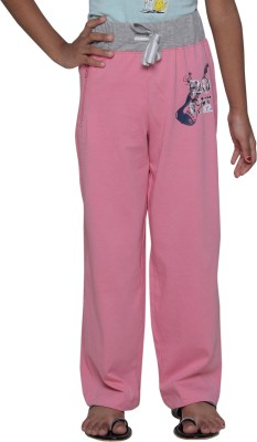 Menthol Solid, Printed Girls Pink Track Pants