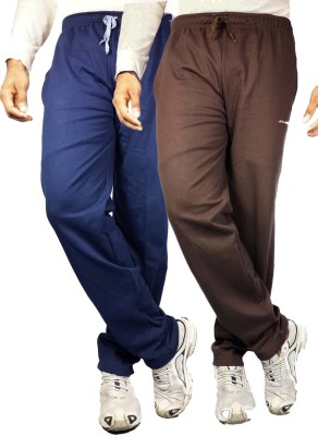 Bluedge Solid Men,s Dark Blue, Brown Track Pants
