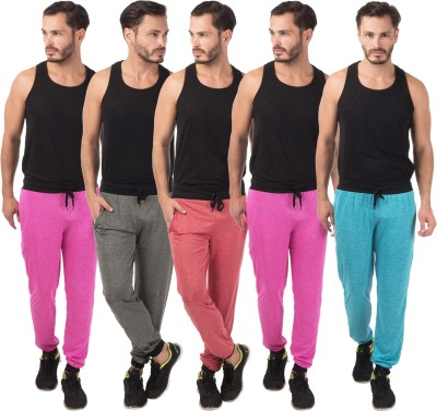 Meebaw Self Design Men's Red, Grey, Pink, Pink, Blue Track Pants