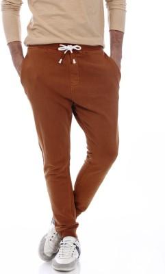 Basics Solid Men's Brown Track Pants