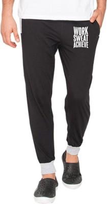 Campus Sutra Printed Mens Black Track Pants