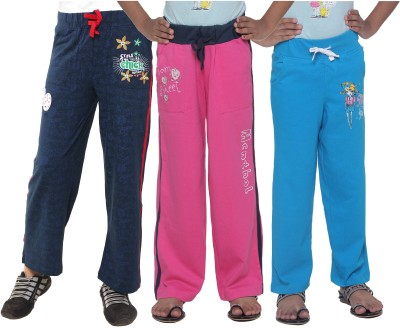 Menthol Printed, Embroidered Girl's Blue, Pink, Blue Track Pants