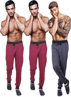 Billu Oye Solid Men's Grey, Maroon, Maroon Track Pants