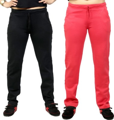 By The Way Solid Women's Black, Pink Track Pants