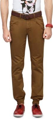People Solid Men's Brown Track Pants