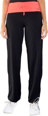 Ativo Solid Girl's Black, Orange Track Pants