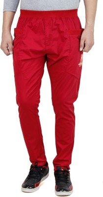 Leg-In Solid Men's Red Track Pants