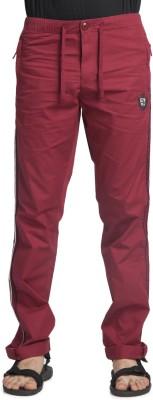 Beevee Solid Men's Red Track Pants