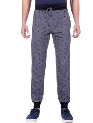 Sprig Graphic Print, Solid Men's Grey Track Pants