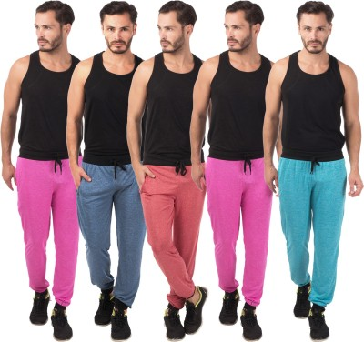 Meebaw Self Design Men's Red, Dark Blue, Pink, Pink, Blue Track Pants