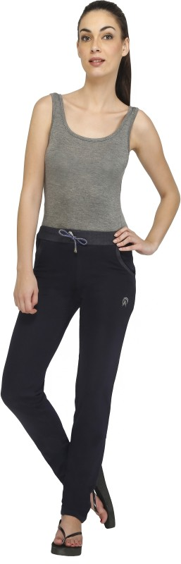 Red Ring Solid Women's Blue Track Pants