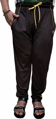 Attitude Works Solid Men's Black, Yellow Track Pants