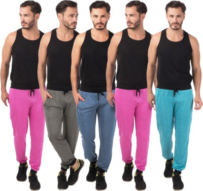 Meebaw Self Design Men's Dark Blue, Grey, Pink, Pink, Blue Track Pants