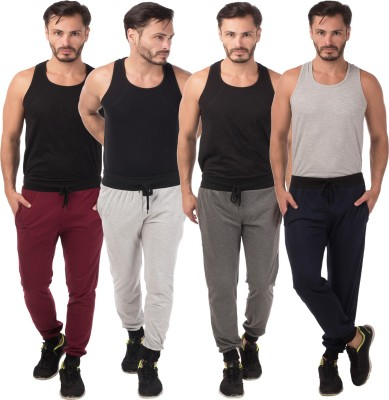 Meebaw Self Design Men's Grey, Grey, Maroon, Dark Blue Track Pants